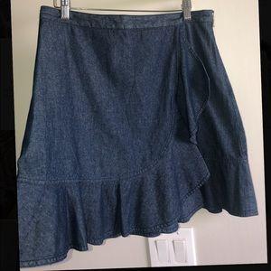 Draper James Asymmetrical Ruffle Chambray Skirt